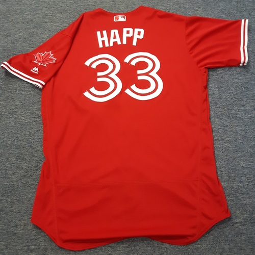 Photo of Authenticated Game Used Jersey - #33 J.A. Happ. July 30, 2017. Size 48.