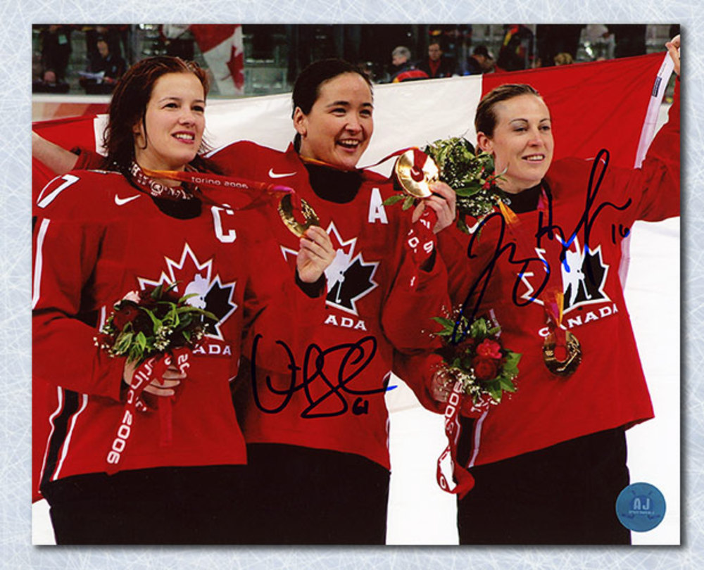 Vicky Sunohara & Jayna Hefford Dual Signed 2006 Team Canada Gold 8x10 Photo