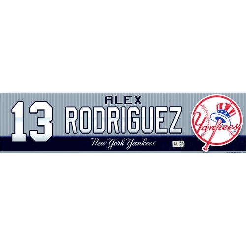 Photo of Alex Rodriguez New York Yankees 2016 Game Used #13 Locker Room Nameplate (4/24/2016)