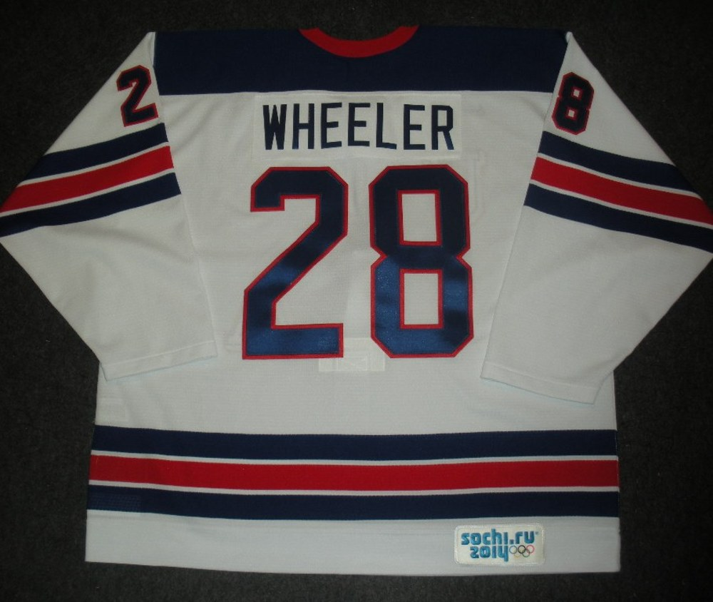 Blake Wheeler - Sochi 2014 - Winter Olympic Games - Team USA Throwback Game-Worn Jersey - Worn in Warmups and 1st Period vs. Slovenia, 2/16/14