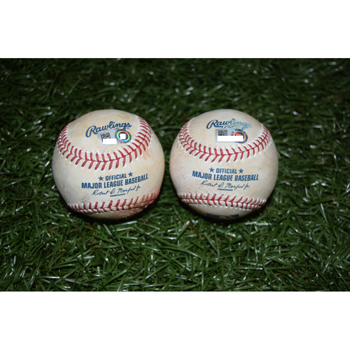 Game-Used Baseballs: Kevin Kiermaier and Evan Longoria