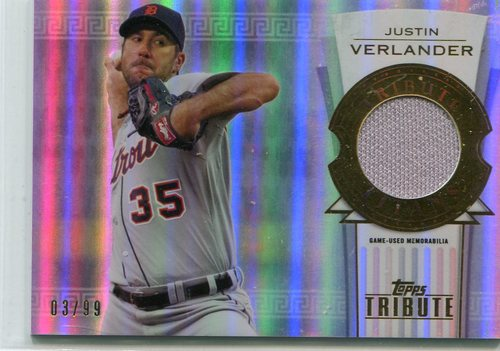Photo of 2014 Topps Tribute Tribute Titans Relics 3/99 Justin Verlander -- Astros post-season