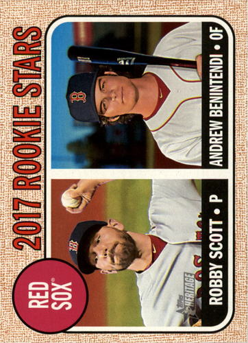 Photo of 2017 Topps Heritage #314 Robby Scott /Andrew BenintendiRookie Card -- Red Sox post-season