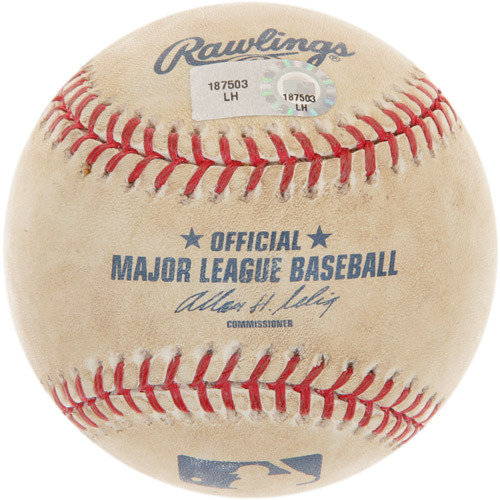 Photo of Game-Used Baseball from Rick Porcello's 1st Career Major League Win Game