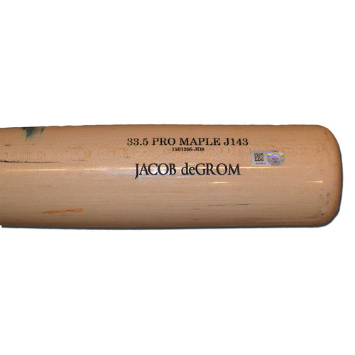 Photo of Jacob deGrom #48 - Team Issued Bat - Beige Old Hickory Model - Full - 2016 Season
