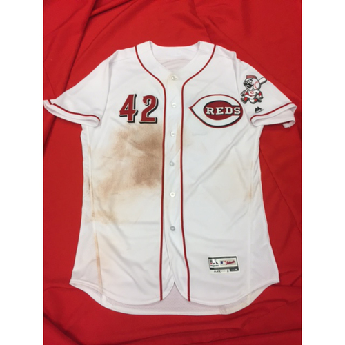 "Photo of Zack Cozart -- Game-Used ""42"" Jersey -- MIL vs. CIN on April 15, 2017"