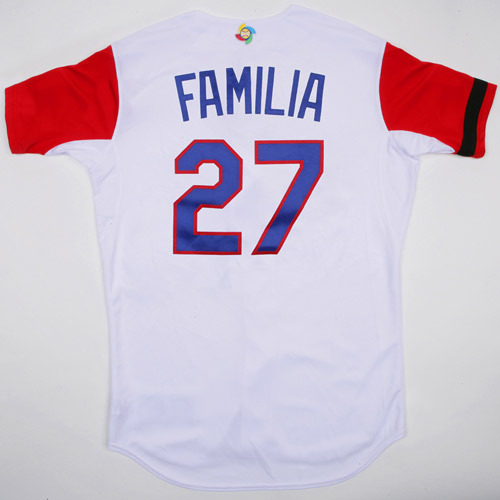 Photo of 2017 WBC Dominican Republic Game-Used Home Jersey, Familia #27