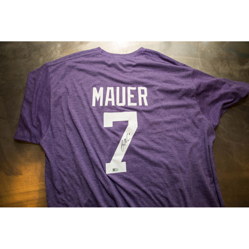 Photo of Autographed Joe Mauer Prince Night Batting Practice T-Shirt