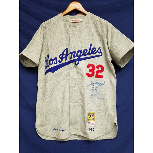 Photo of Kershaw's Challenge: Sandy Koufax Autographed Road 1963 Jersey