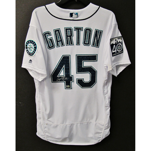 Photo of Mariners Care Hurricane Irma Relief - Ryan Garton Game-Used and Autographed Marineros Jersey 9-9-2017 Size 46
