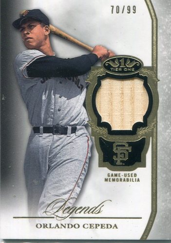 Photo of 2013 Topps Tier One Legends Relic Orlando Cepeda 70/99 -- Hall of Famer