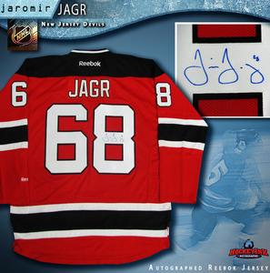 JAROMIR JAGR Signed New Jersey Devils Red Reebok Jersey