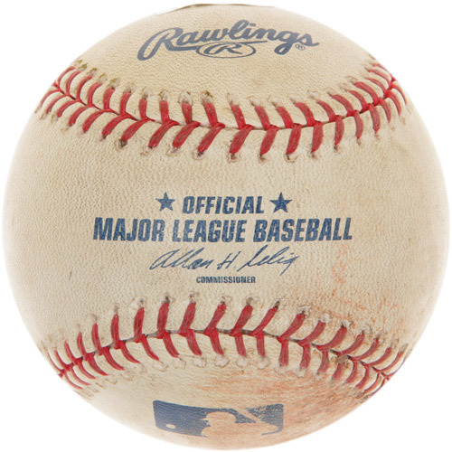 Photo of Game-Used Baseball from Max Scherzer's 1st Career Major League Win Game