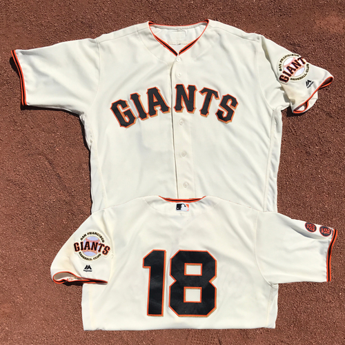 Photo of San Francisco Giants - Game-Used Jersey - Matt Cain - Worn on 7/26/16 - 99th Career Win and Home Run!