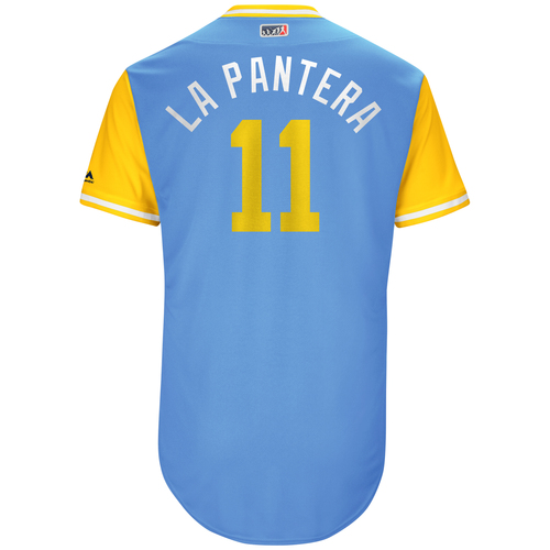 "Photo of Adeiny ""La Pantera"" Hechavarria Tampa Bay Rays Game-Used Players Weekend Jersey"