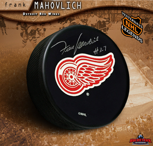 FRANK MAHOVLICH Signed Detroit Red Wings Puck