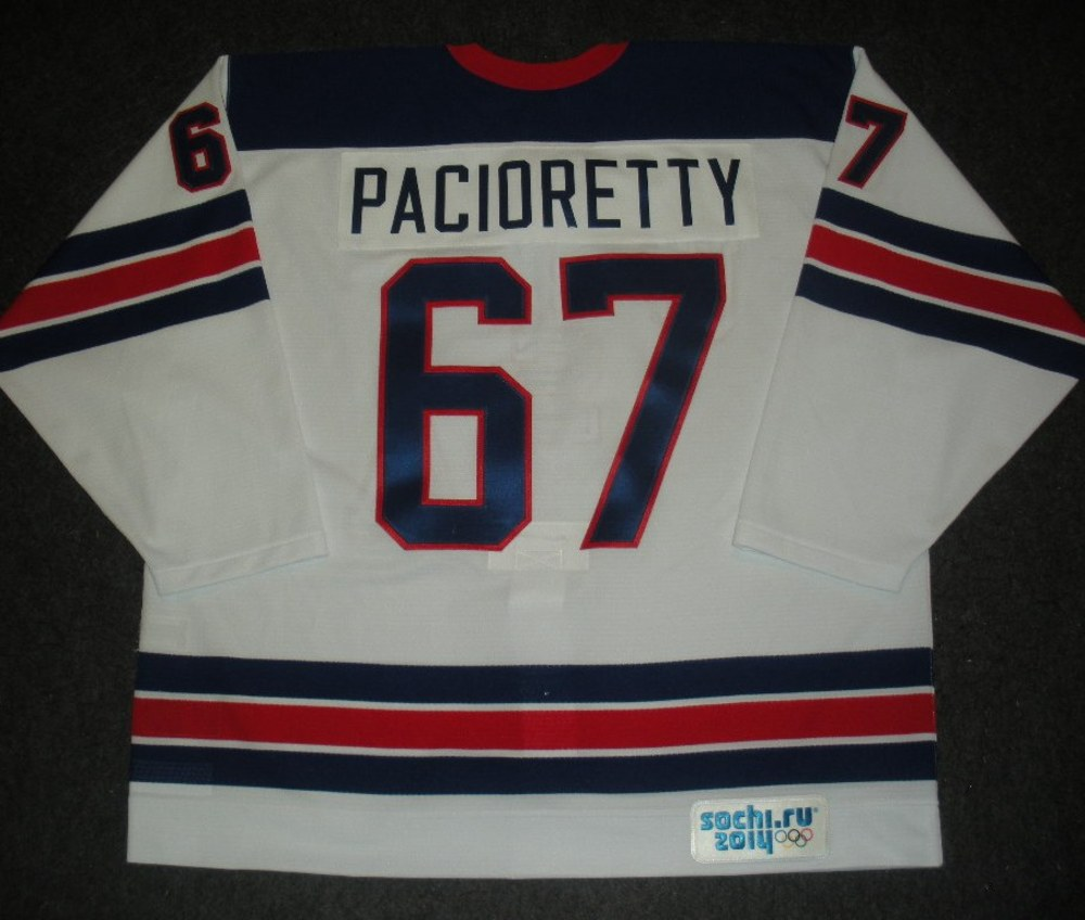 Max Pacioretty - Sochi 2014 - Winter Olympic Games - Team USA Throwback Game-Issued Jersey - Warmups and 1st Period vs. Slovenia, 2/16/14