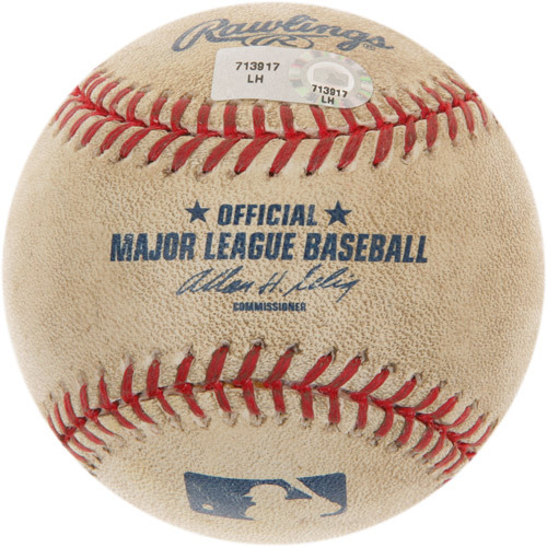 Photo of Game-Used Baseball from Wade Davis' First Career Major League Win Game