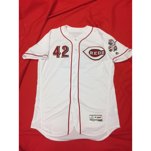 "Photo of Bronson Arroyo -- Game-Used ""42"" Jersey -- MIL vs. CIN on April 15, 2017"
