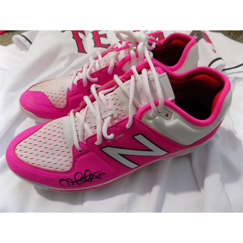 Photo of Nick Martinez Autographed Commemorative Mother's Day Game Spikes Auctioned To Benefit Jonathan Lucroy Breast Cancer Research Effort
