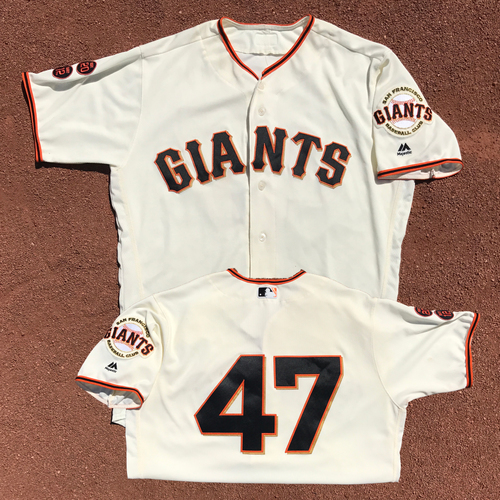 Photo of San Francisco Giants - Game-Used Jersey - Johnny Cueto - Worn on 9/15/16 - Complete Game Win - 9 IP, 5 H, 2 ER, 7 SO