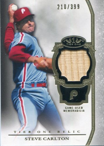 Photo of 2013 Topps Tier One Relics Steve Carlton 210/399 -- Hall of Famer