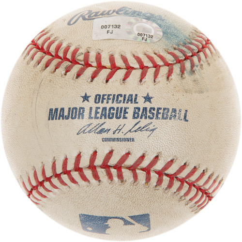 Photo of Game-Used Baseball from Giancarlo Stanton's 1st Career Major League Hit Game