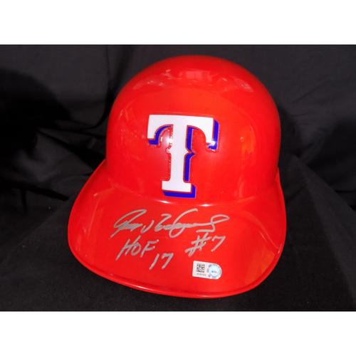 """Photo of Ivan Rodriguez Autographed Catchers Skull Cap Inscribed with """"HOF """"17"""""""