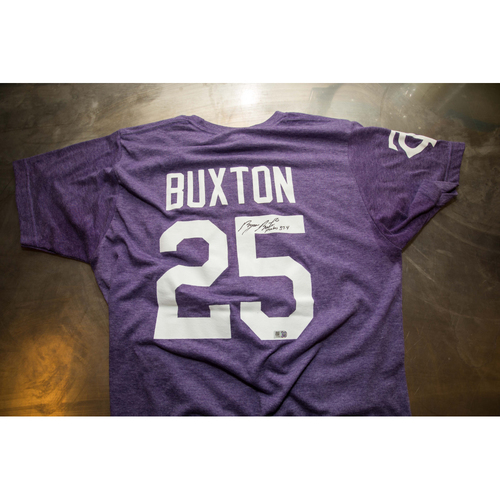 Photo of Autographed Byron Buxton Prince Night Batting Practice T-Shirt