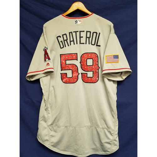 Photo of Juan Graterol Game-Used Road Jersey - 7/4/2017