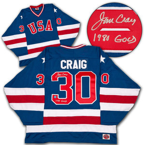 Jim Craig Team USA Autographed 1980 Olympic Jersey With Gold Medal Inscription