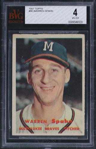 Photo of 1957 Topps #90 Warren Spahn Graded BVG 4