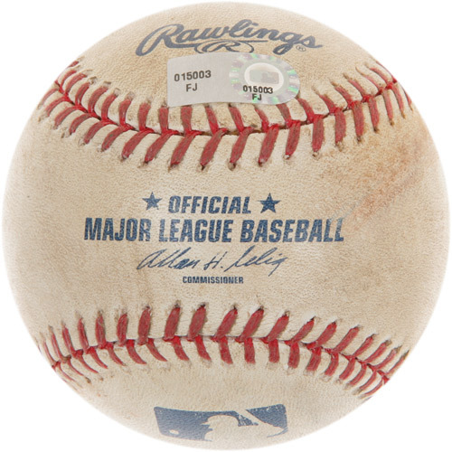 Photo of Game-Used Baseball from Carlos Santana's 1st Career Major League Hit Game