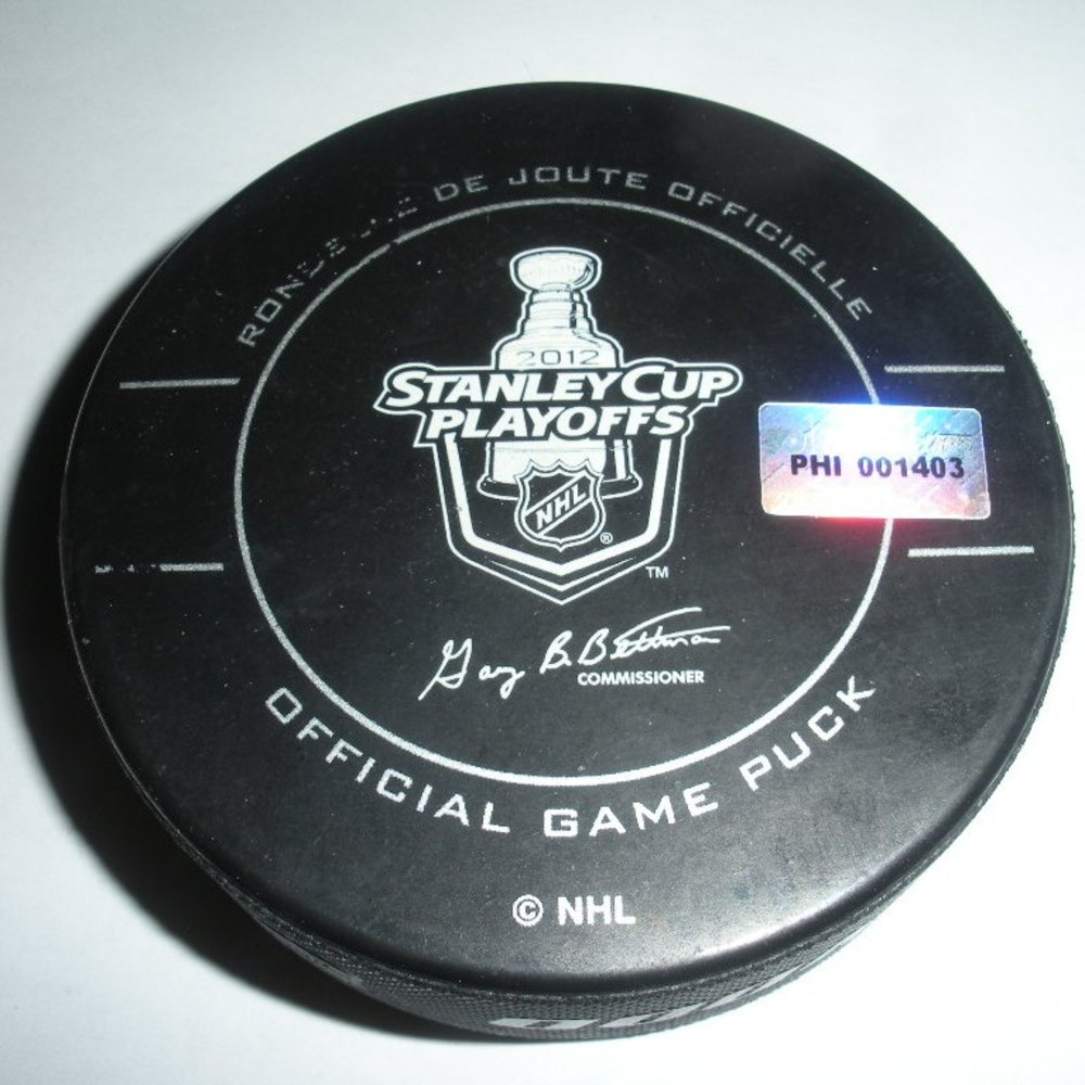 Sidney Crosby - Pittsburgh Penguins - Goal Puck - April 18, 2012 (Flyers Logo)