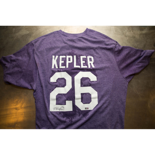 Photo of Autographed Max Kepler Prince Night Batting Practice T-Shirt