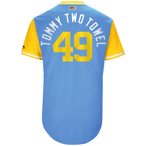 "Photo of Tommy ""Two Towels"" Hunter Tampa Bay Rays Game-Used Players Weekend Jersey"
