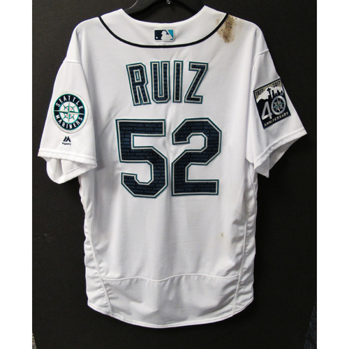 Photo of Mariners Care Hurricane Irma Relief - Carlos Ruiz Game-Used Marineros Jersey 9-9-2017 Size 46