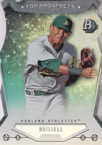 Photo of 2014 Bowman Platinum Top Prospects Die Cuts  Addison Russell -- Cubs post-season