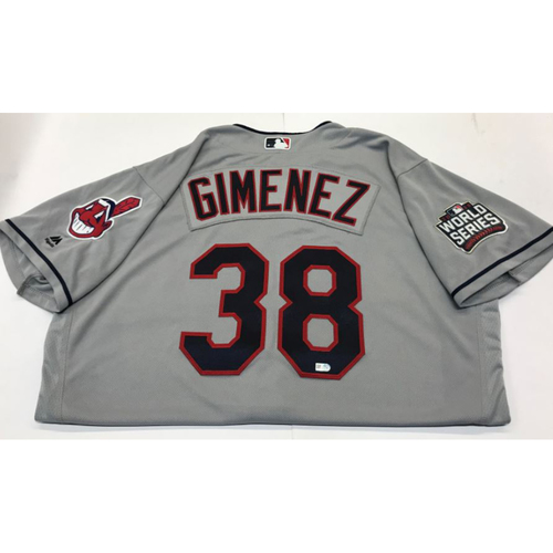 Photo of Chris Gimenez Team-Issued 2016 World Series Jersey