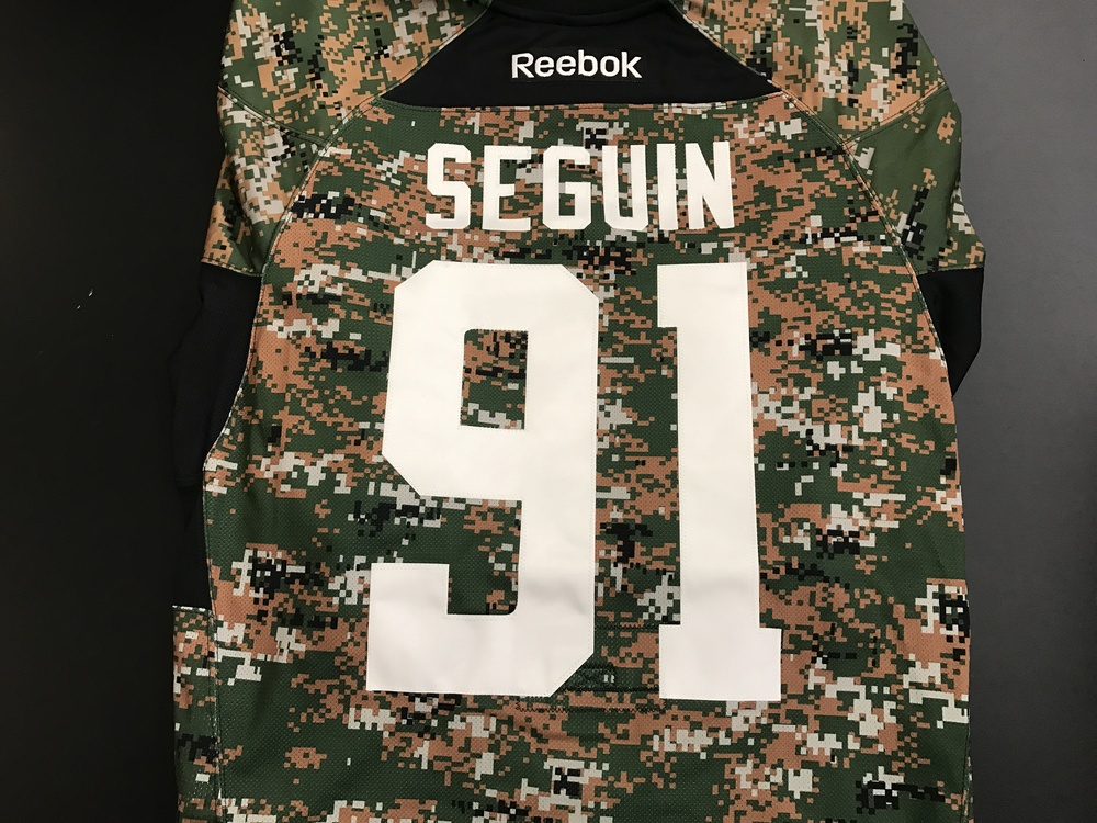 Dallas Stars, Tyler Seguin, warm-up worn camo jersey