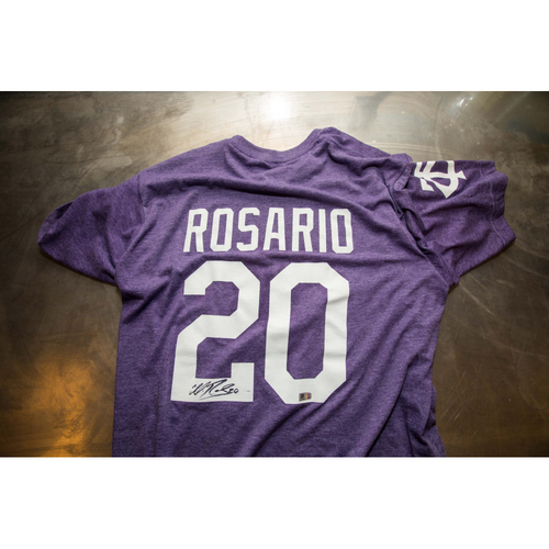 Photo of Autographed Eddie Rosario Prince Night Batting Practice T-Shirt