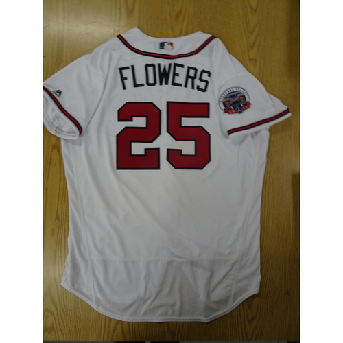 Photo of Tyler Flowers Game-Used Los Bravos Jersey - Worn 9/17/17 at SunTrust Park