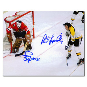 Phil Esposito Boston vs. Tony Esposito Chicago Dual Autographed 8x10
