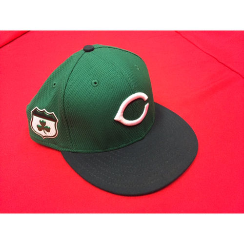 Photo of St. Patrick's Day -- Adam Duvall -- Game-Used Hat -- CIN @ CLE on March 17, 2017