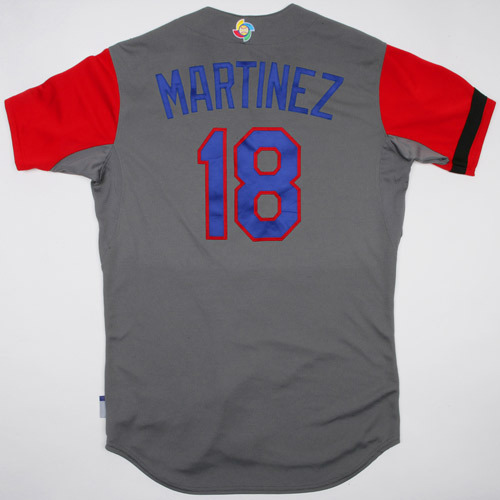 Photo of 2017 WBC Dominican Republic Game-Used Road Jersey, Martinez #18