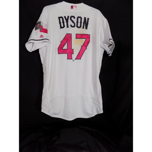 Photo of Game-Used Commemorative Mother's Day Jersey and Cap Worn By Sam Dyson - Dyson Pitches One Complete Inning and Registers His Second Hold Of 2017