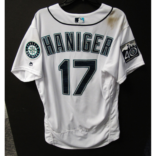 Photo of Mariners Care Hurricane Irma Relief - Mitch Haniger Game-Used Marineros Jersey 9-9-2017 Size 46
