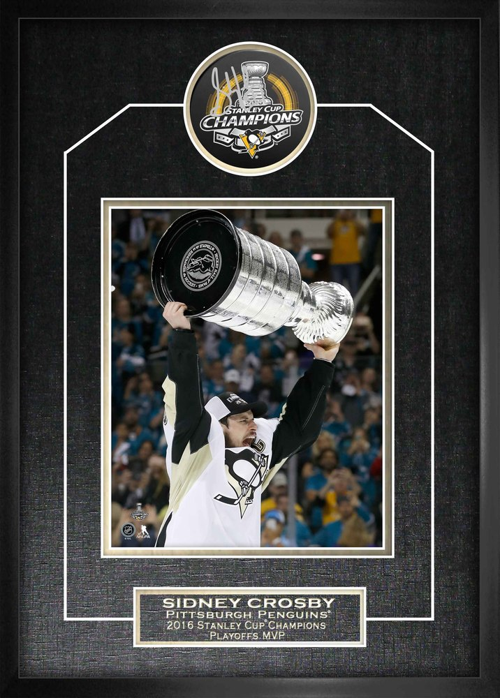 Sidney Crosby -  Signed Pittsburgh Penguins Stanley Cup Champions 2016 Puck Featuring 8x10
