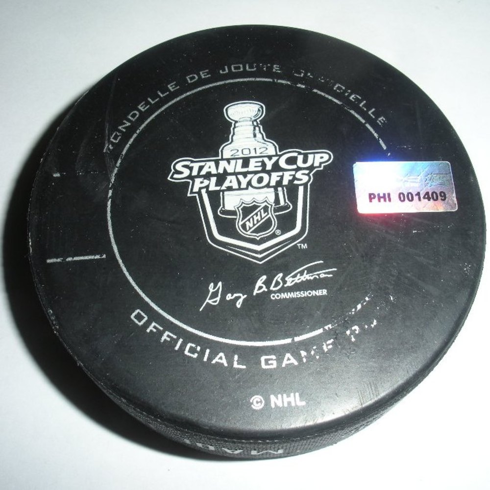 Evgeni Malkin - Pittsburgh Penguins - Goal Puck - April 18, 2012 (Flyers Logo)
