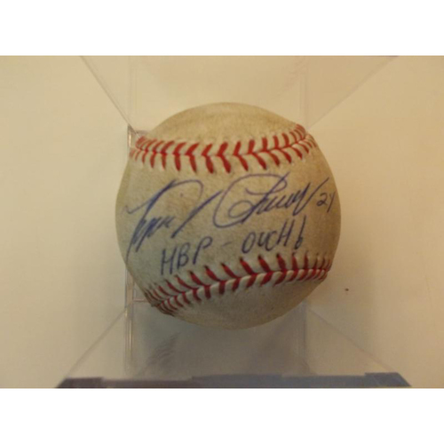 Photo of Autographed Game-Used Baseball: Miguel Cabrera Hit by Pitch